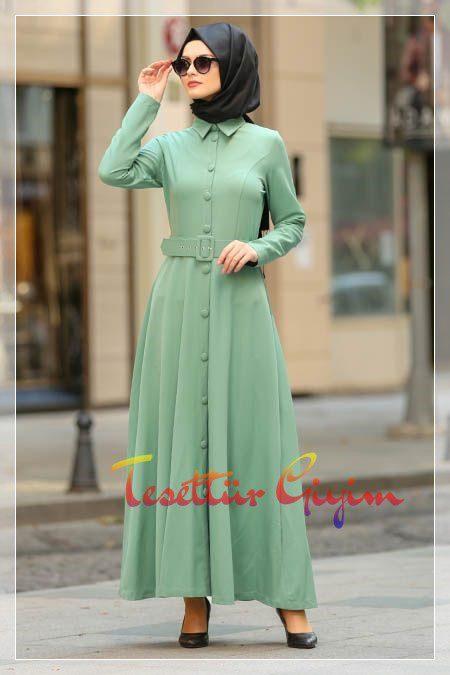 açık yeşil tesettür elbise modeli