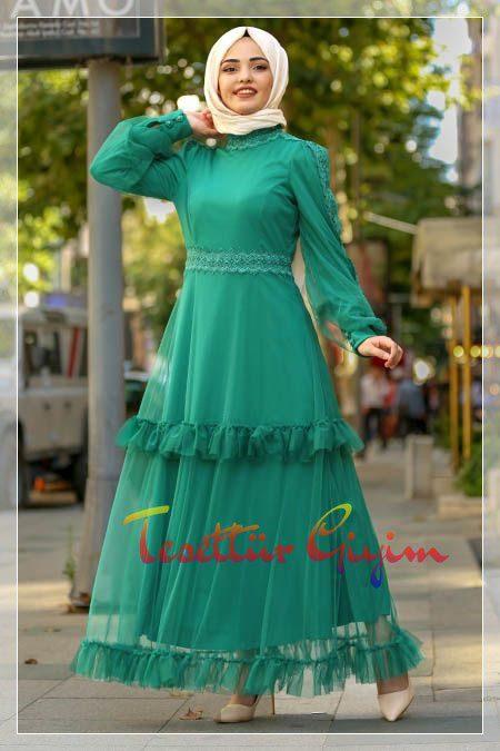 turkuaz tesettür elbise modeli
