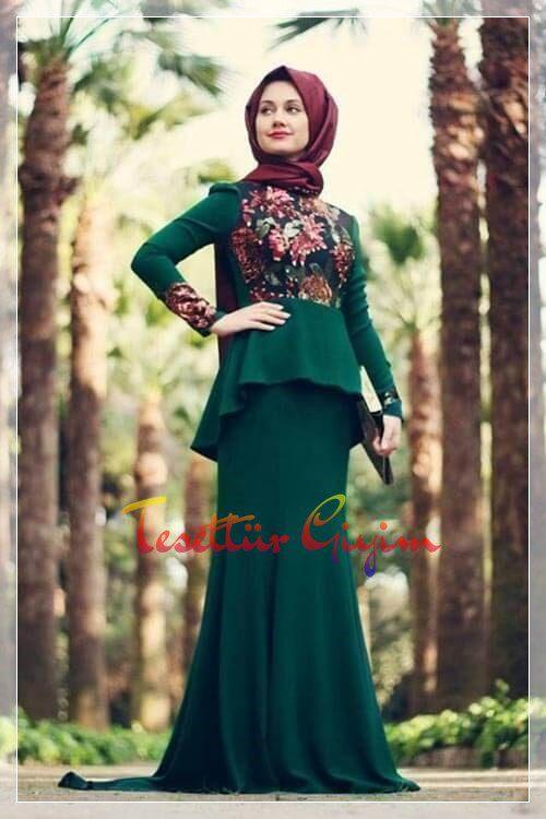 uzun etekli yeşil tesettür elbise