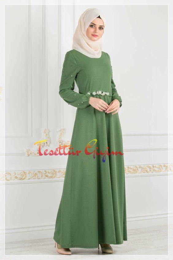 uzun fıstık yeşili tesettür elbise