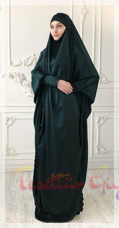 koyu yeşil cilbab