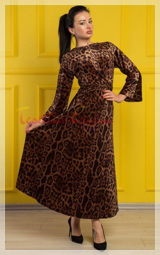 leopar desenli tesettür kadife elbise