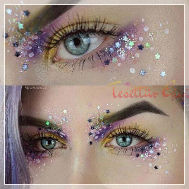 mor detaylı glitter makyaj