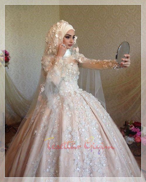 pembe renk prenses gelinlik modeli