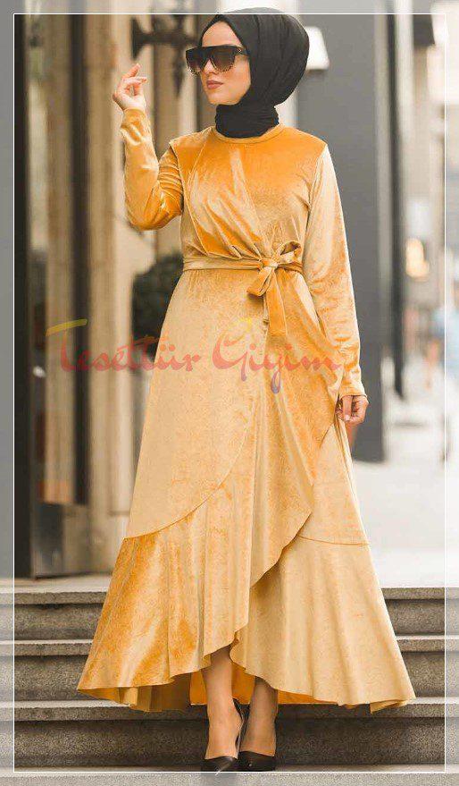 sarı kadife elbise modeli