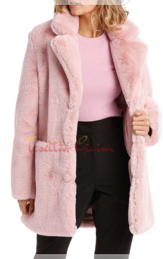 uzun kışlık pembe ceket