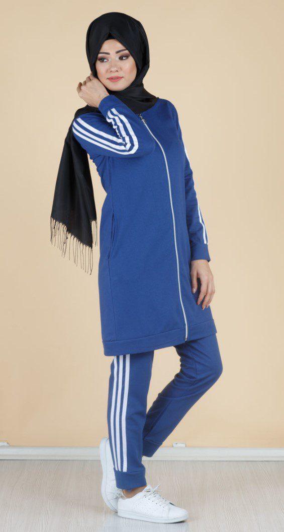 Tesettür Adidas Mavi Eşofman Modeli