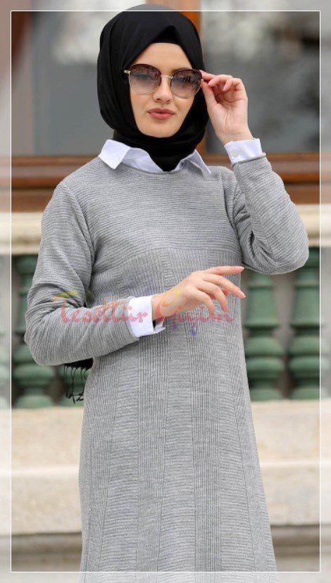 grey hijab knitwear dress