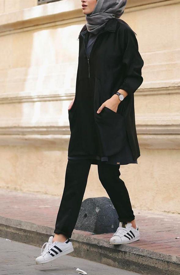 Tesettür Genç Giyim Siyah Kombin