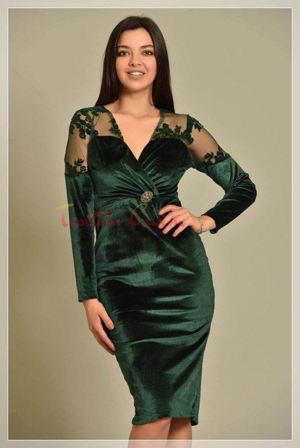 big sizeGreen Velvet Dress