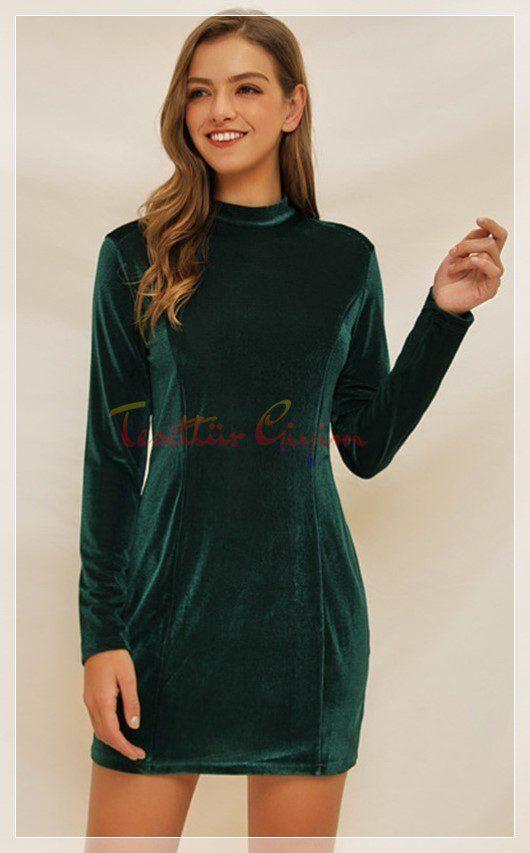 mini Yeşil Kadife Elbise Modelş