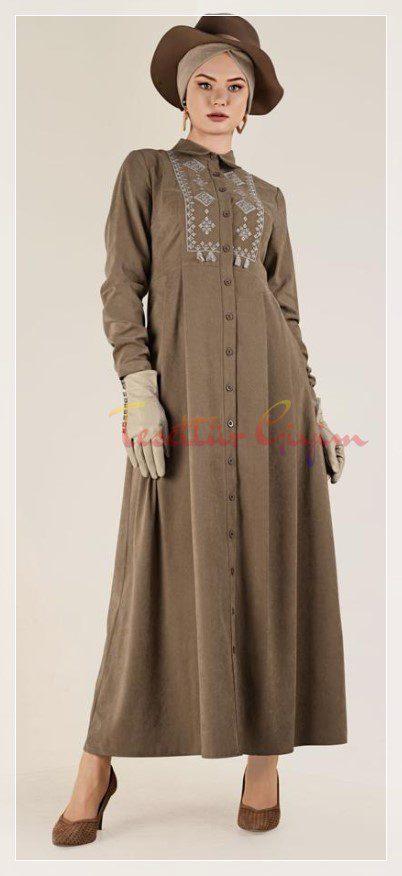 vintage kışlık tesettür elbise