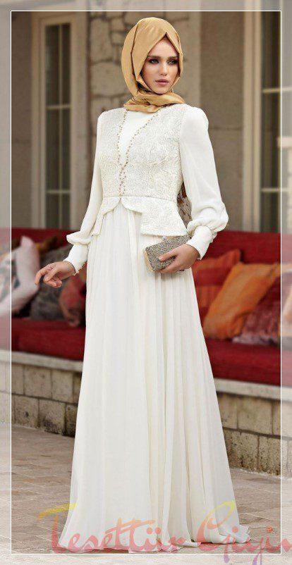 Tesettür beyaz nikah elbise modeli
