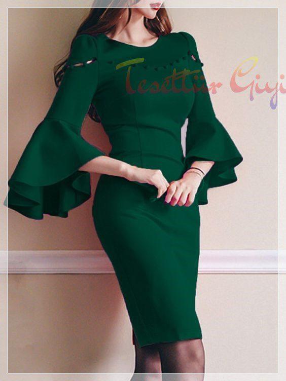 kolları bol Peplum Elbise Modeli