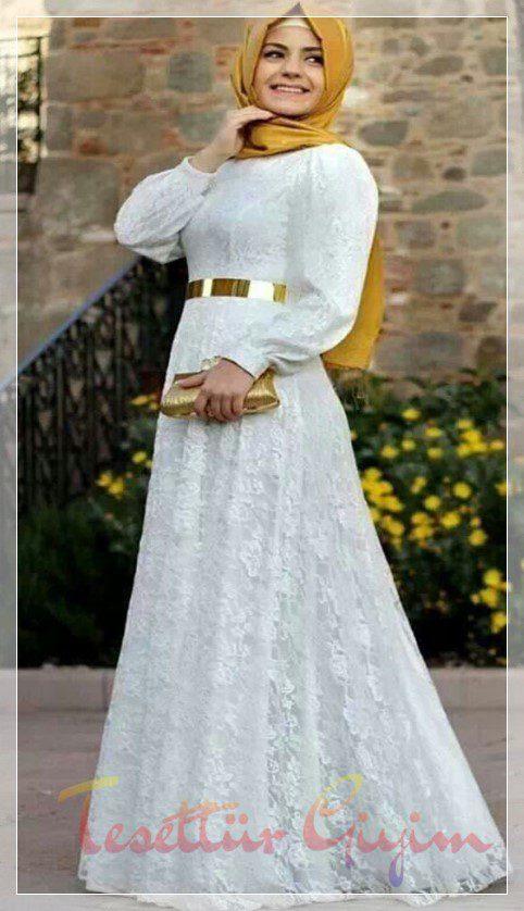 tesettür dantel detaylı nikah elbisesi
