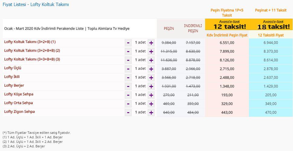 Bellona Lofty Koltuk Takımı fiyat listesi