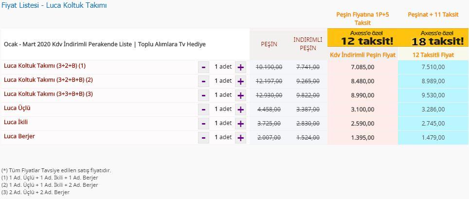 Bellona Luca Koltuk Takımı fiyat listesi