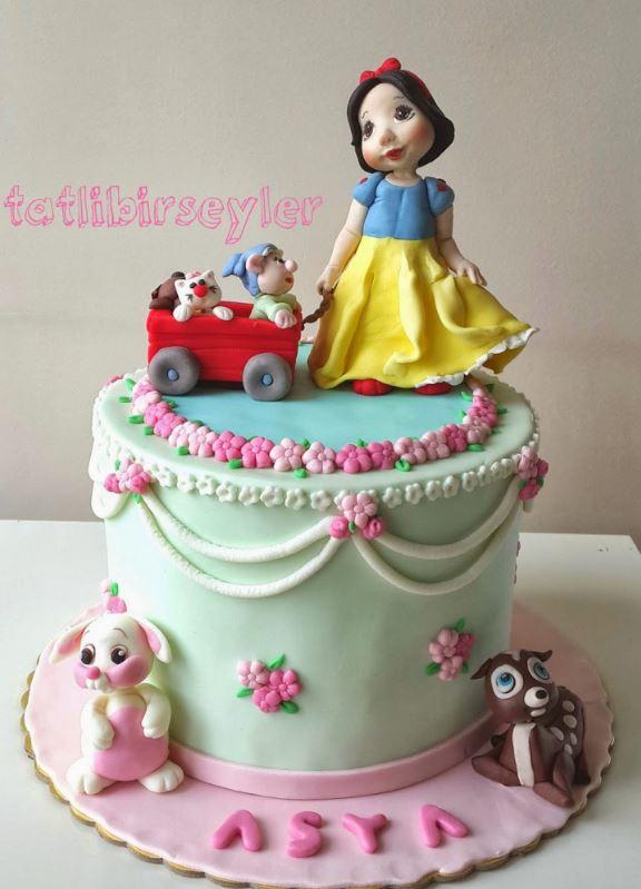 Şeker Hamuru Pamuk Prenses Pasta örnekleri