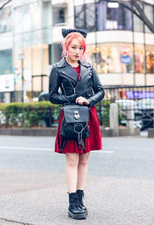 Kırmızı Harajuku Elbise
