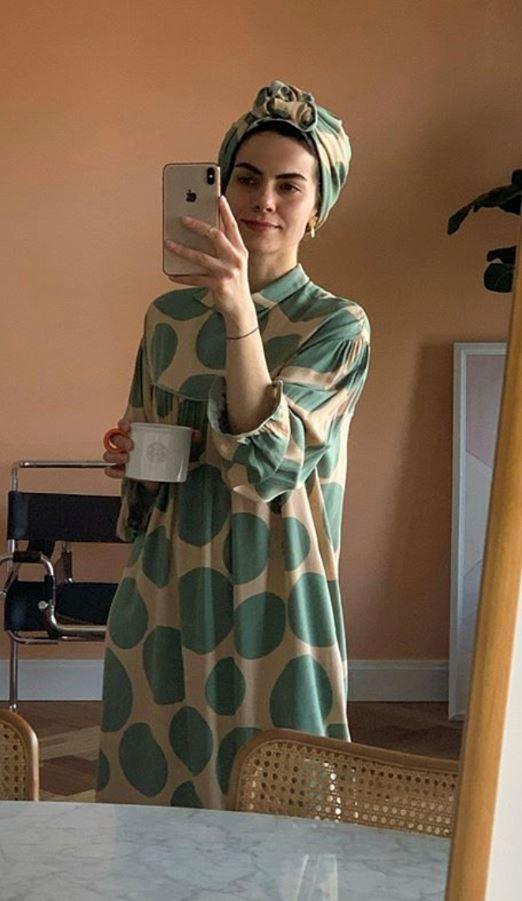 Yeşil Puanlı Elbise Kombini