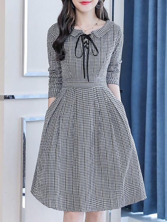 Yeni Sezon kareli Günlük Elbise Modeli