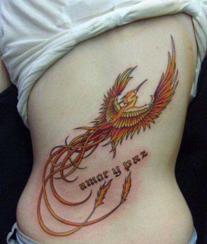 Arka Bel Üstü Anka Kuşu Dövmesi
