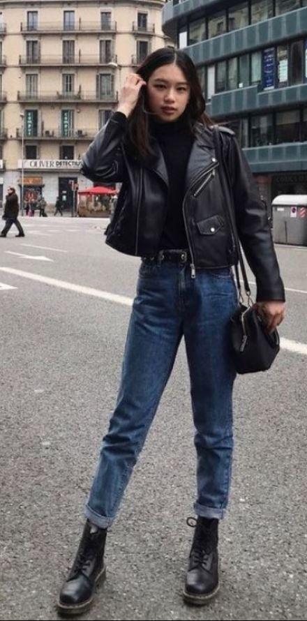 Siyah Deri Ceket Kombini