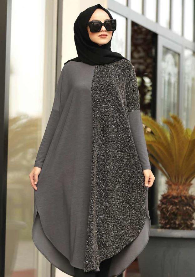 Yarısı Simli Uzun Tunik Modeli