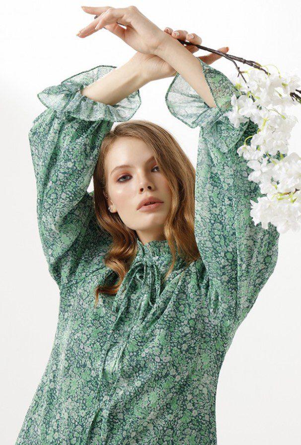 Çiçek Baskı Elbise Modeli