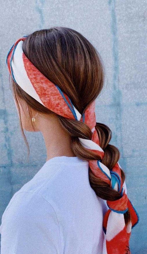 Örgü Saça Renki Saç Bandı