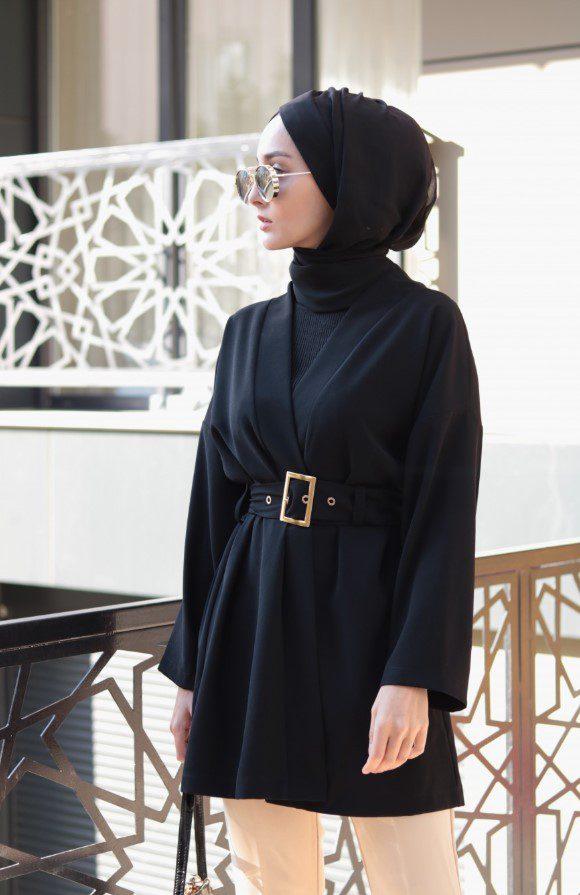 Dilara Ertan Siyah Kemerli Kimono