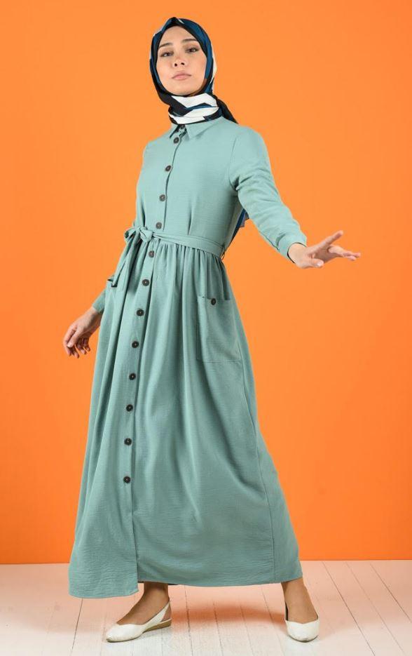 Mint Yeşili Düğmeli Elbise Modeli