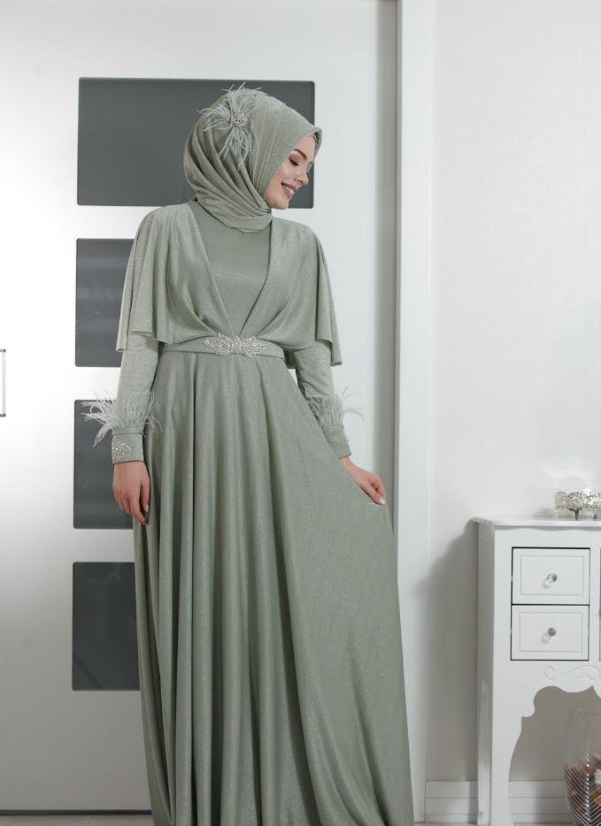 Su Yeşili Tesettür Elbise Modeli