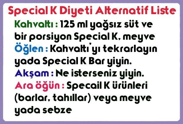 Special K Diyeti Alternatif Liste