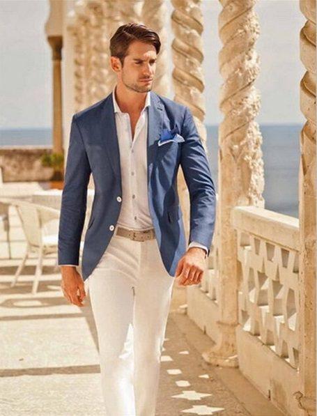 Beyaz Pantolonlu Mavi Blazer