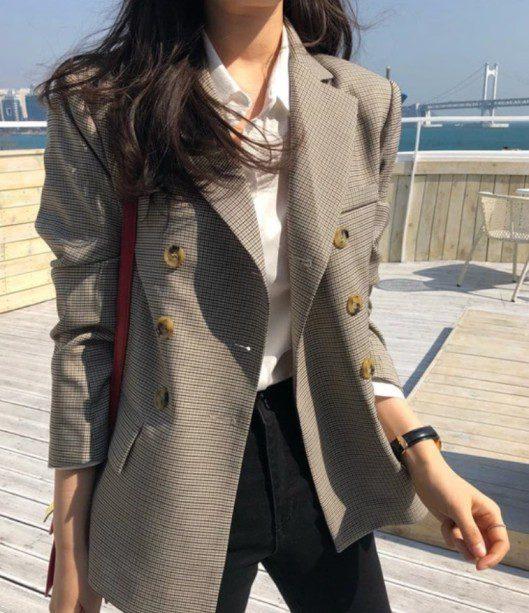 Çizgili Uzun Blazer Ceket