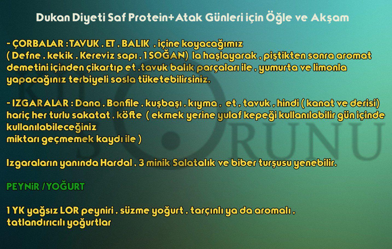 Dukan Diyeti Saf Protein+Atak Günleri için Öğle ve Akşam