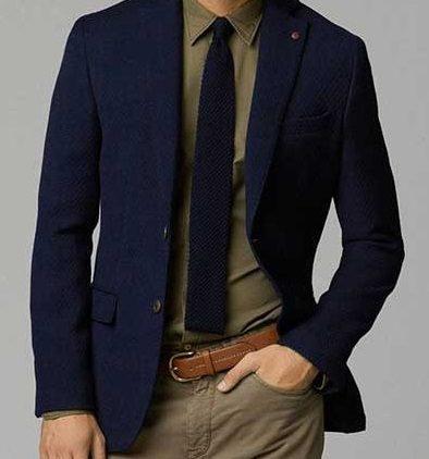 Haki Pantolonlu Lacivert Blazer