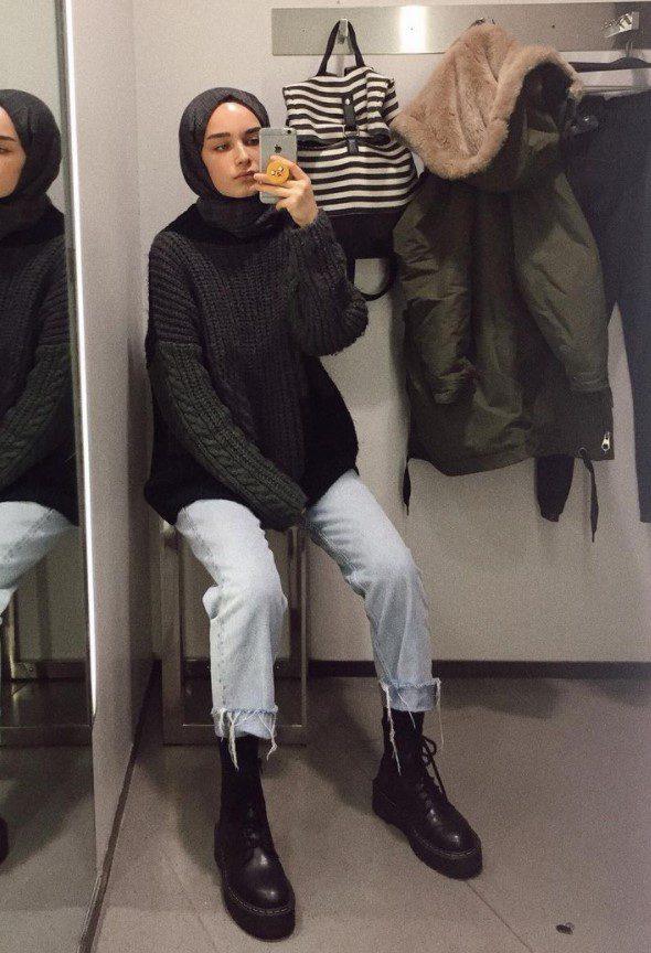 Elif Sezer Çizme Kazak Kombini