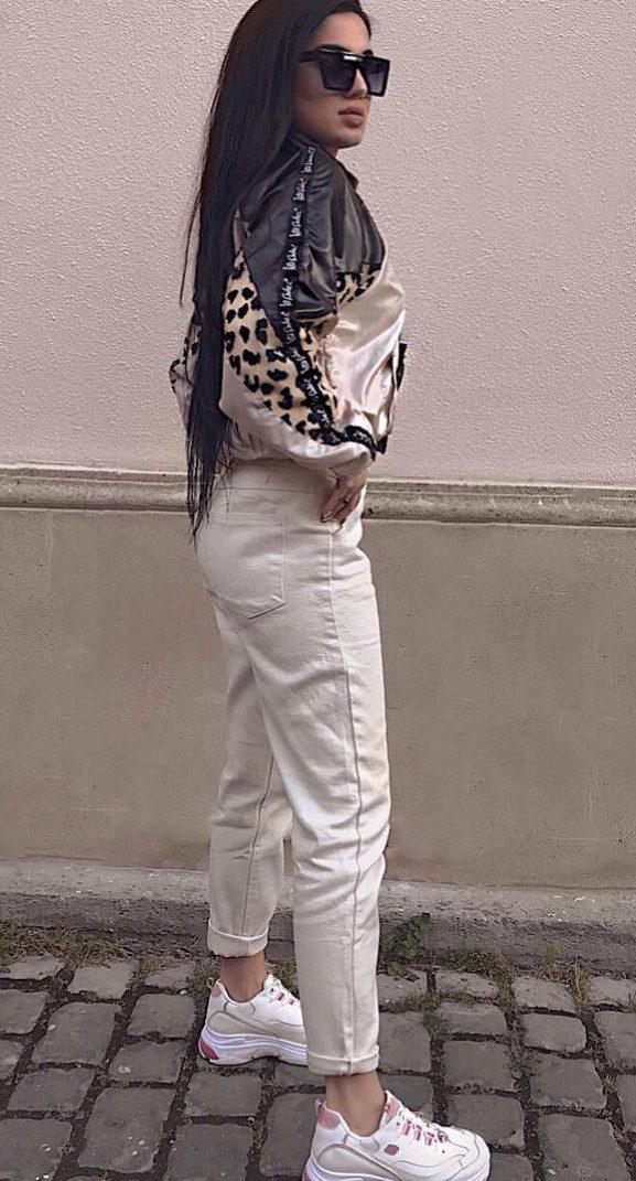Naz Dej Siyah Leopar Desen Bluz