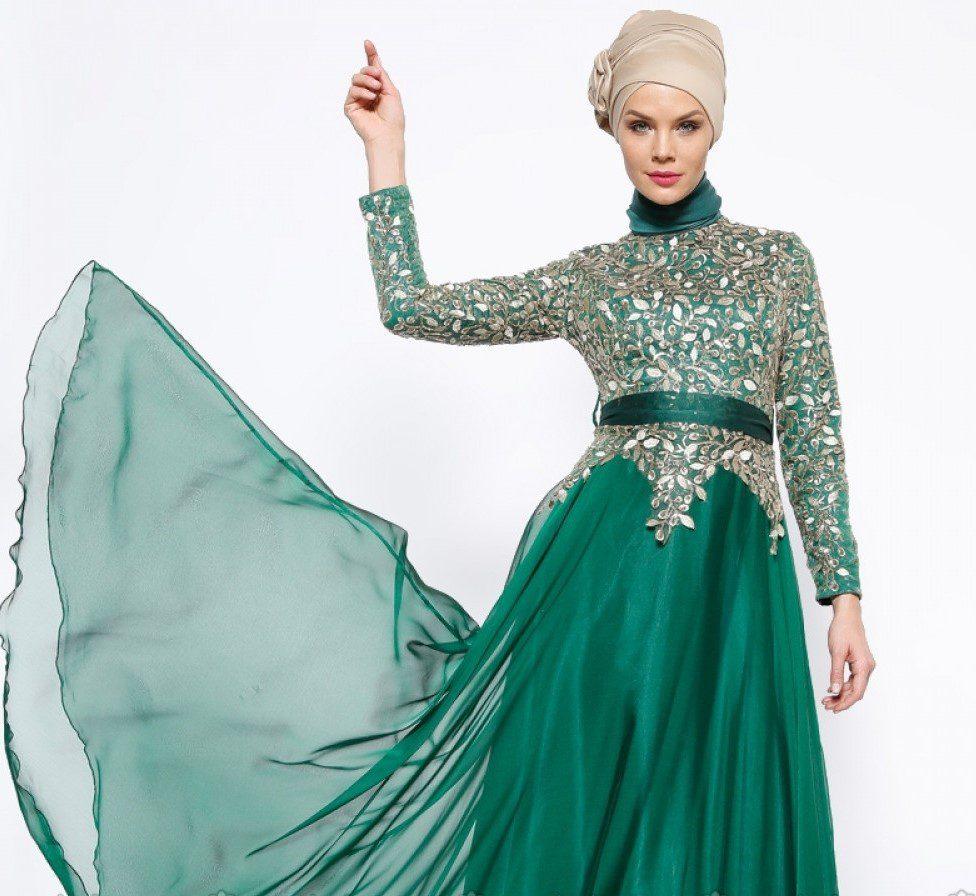 Mislina Yeşil Tüllü Gece Elbisesi