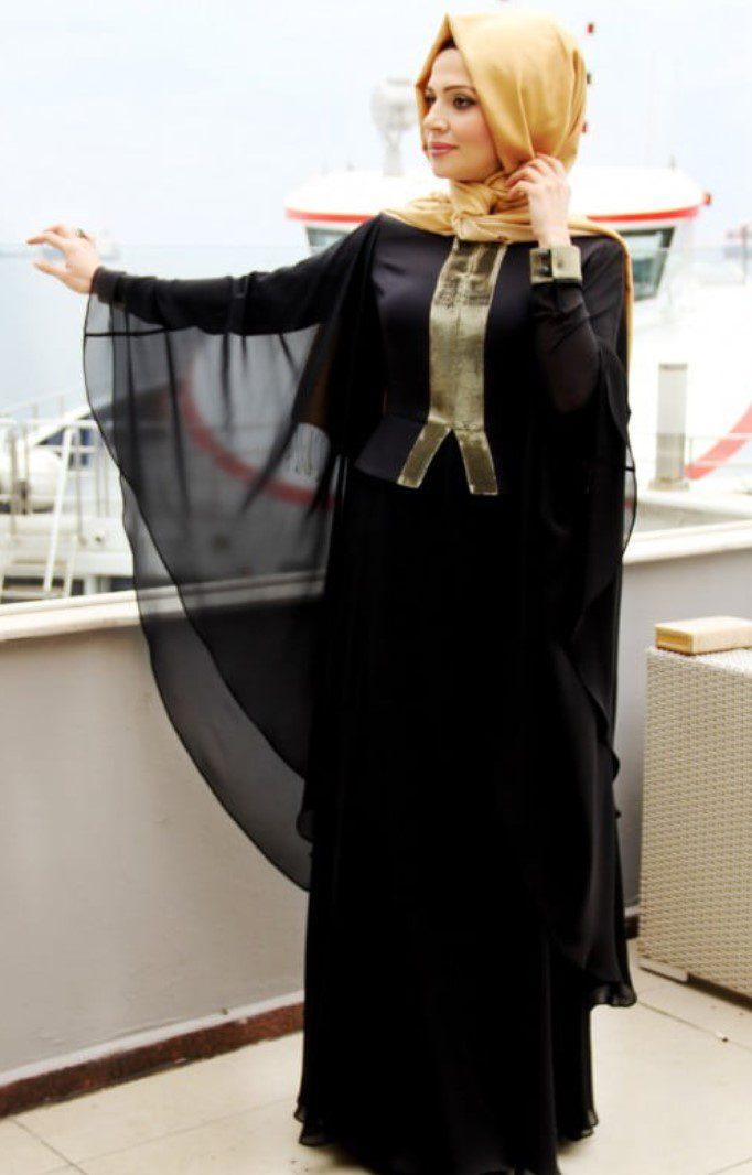Siyah Altın Renk Mislina Abiye