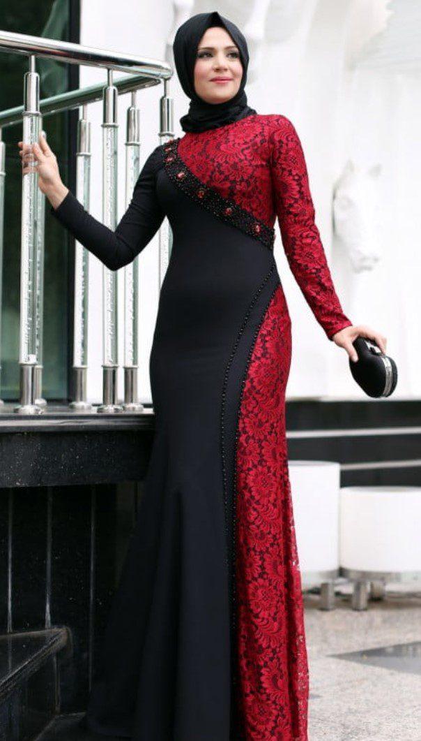 Siyah Bordo Renk Mislina Abiye