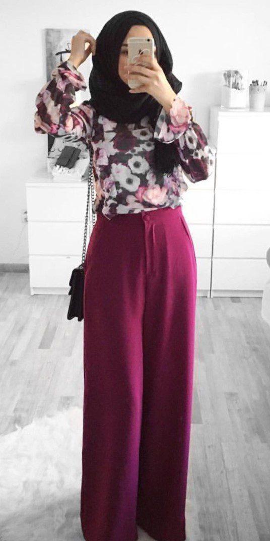 Tesettürlü Öğrenci Bordo Pantolon Çiçekli Bluz
