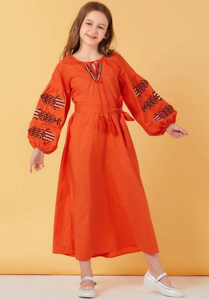 Turuncu 12-13 Yaş Tesettür Elbise Modeli