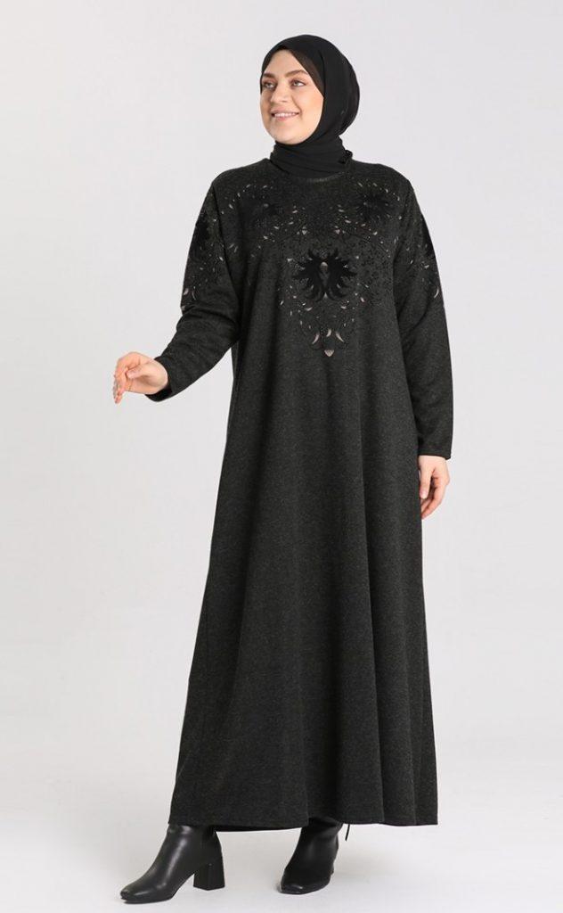 siyah 54 Beden Tesettür Elbise Modelleri