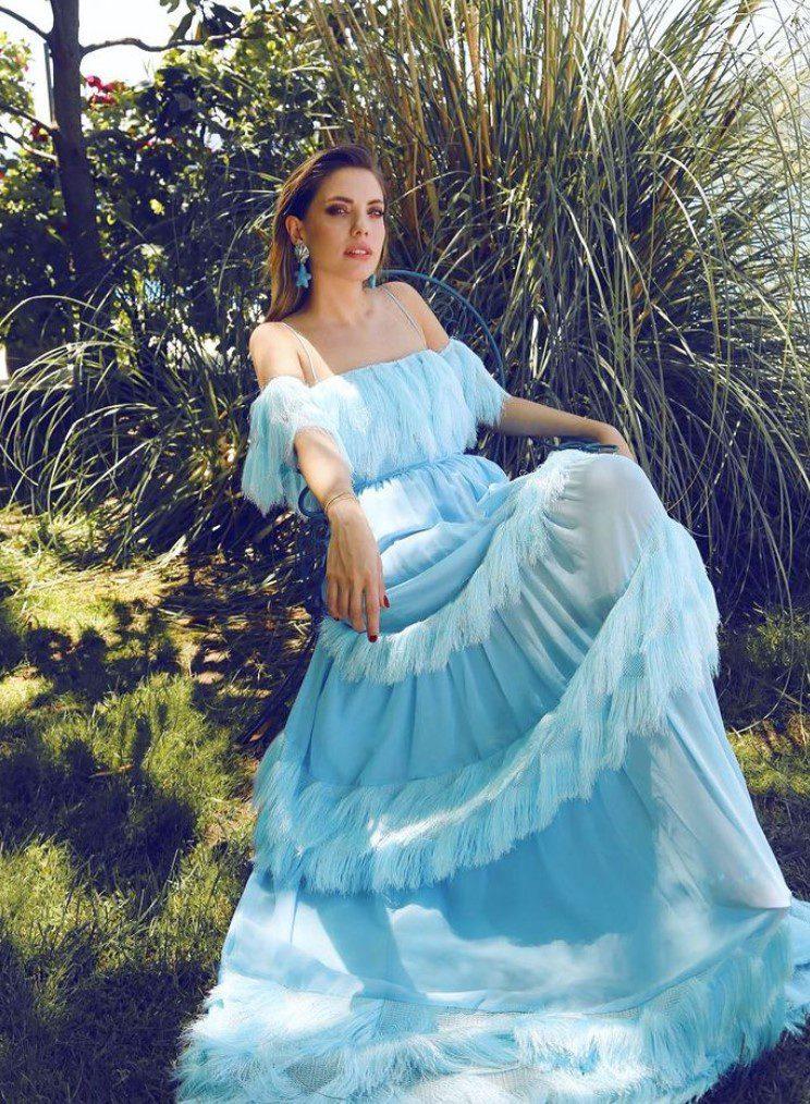 Eda Ece Turkuaz Elbise Modeli
