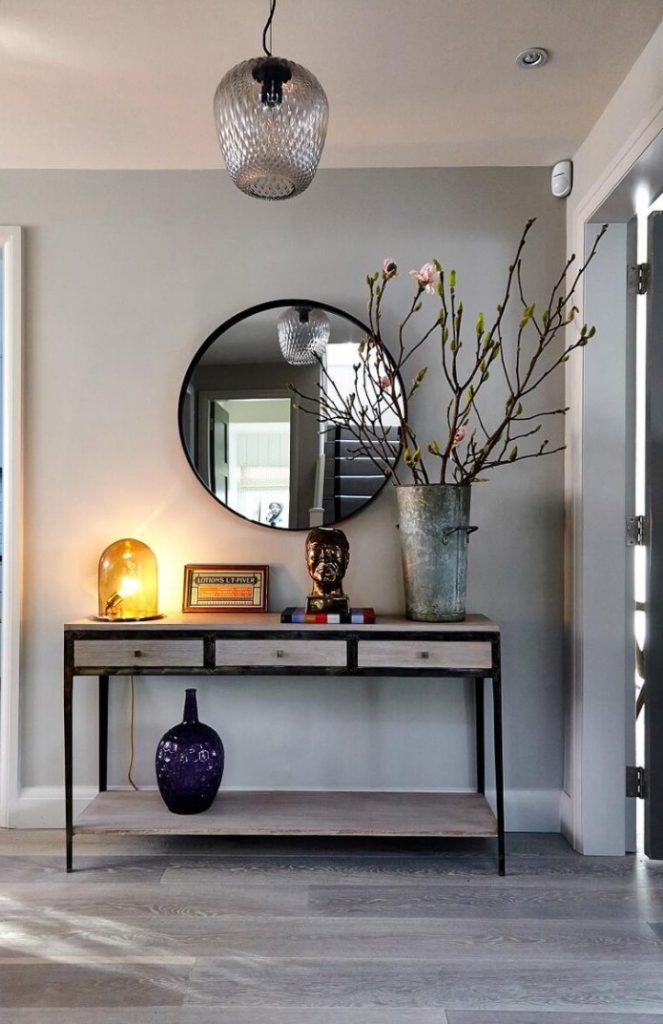 Sade Tasarım Oval Ayna Antre Dekorasyonu