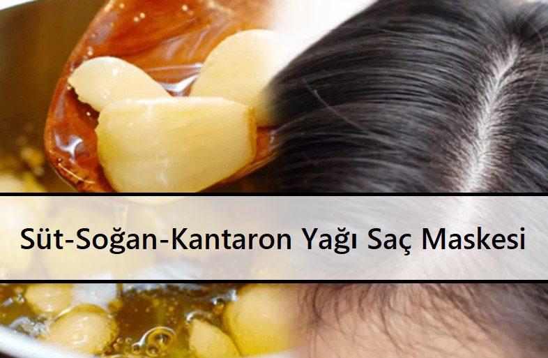 Süt-Soğan-Kantaron Yağı Saç Maskesi