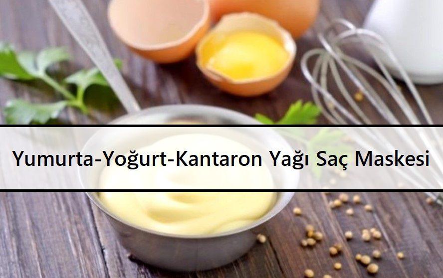 Yumurta-Yoğurt-Kantaron Yağı Saç Maskesi
